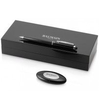 Подарочный набор 'Maud' в футляре: шариковая ручка-стилус и флеш-карта USB 2.0 на 4 ГБ, черный, черные чернила