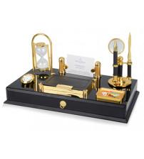 Настольный прибор «Валь Торанс» с выдвижным ящиком: часы песочные и аналоговые, подставка под визитки, отделения для бумажного блока и скрепок, лупа, нож для бумаги и ручка