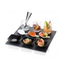 Набор для закусок: сервировочная доска, 3 стакана, 3 чайные ложки, 3 сервировочные ложки, 3 креманки