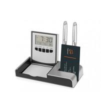 Настольный складной прибор с часами, датой, термометром, подставками под ручки, визитки и бумажный блок