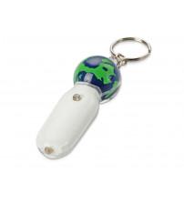 Брелок-фонарик с плавающей мини-фигурой «Земной шар», белый/синий/зеленый