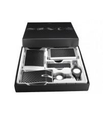 Набор компьютерных аксессуаров «Карбоновая долина»: оптическая мышка, USB Hub на 4 порта, USB фонарик, визитница с флеш-картой USB 2.0 на 4 Gb, переходник