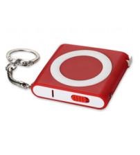 Брелок-рулетка с фонариком, 1 м., красный/белый