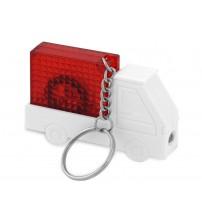 Брелок-рулетка 'Автомобиль' с фонариком, 1 м., белый/красный
