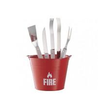 Набор для барбекю 'Огонь': ведро, щипцы, лопатка, вилка, нож для мяса