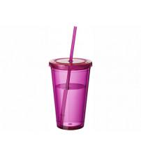 Стакан с соломинкой 'Cyclone', розовый