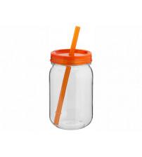 Стакан в виде банки 'Binx', прозрачный/оранжевый