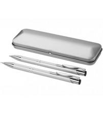 Набор 'Dublin': ручка шариковая, карандаш механический, серебристый