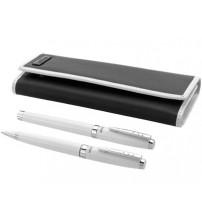 Набор ручек 'Cherbourg' в чехле: ручка шариковая и роллер, белый/черный, черные чернила