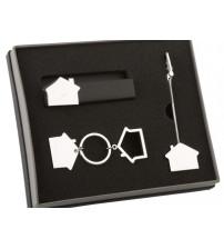 Набор аксессуаров в виде домика: подставка под визитки, держатель для документов, брелок