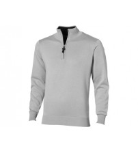 Пуловер 'Set' с застежкой на четверть длины, серый/черный