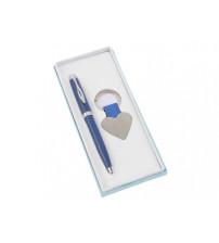 Подарочный набор 'Сердце': ручка шариковая, брелок, синий