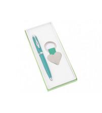 Подарочный набор 'Сердце': ручка шариковая, брелок, зеленый