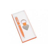 Подарочный набор 'Сердце': ручка шариковая, брелок, оранжевый