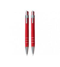 Набор «Эльба»: ручка шариковая, механический карандаш в футляре красный