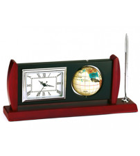 Настольный прибор «Васко да Гама» с часами, ручкой и глобусом