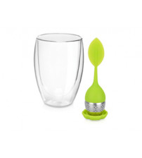 Набор «Приятного чаепития!»: стакан на 330 мл для чая со стенками из двойного стекла, ситечко для заварки