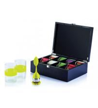 Набор «Для ценителей чая»: 2 стакана на 270 мл с силиконовыми вставками, ситечко для заварки, коробка для хранения чая
