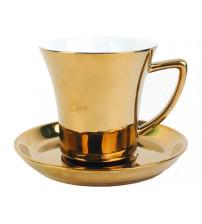 Золотая чайная пара: чашка на 180 мл с блюдцем